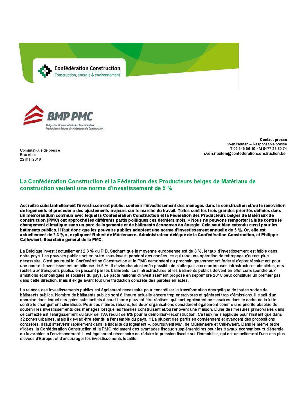 Communiqué de press commun du PMC et Confédération de la Construction