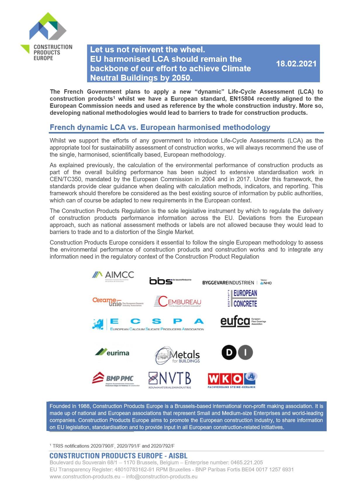 Dommage que la France ait recours à une méthode d'ACV scientifiquement discutable pour promouvoir les matériaux biosourcés